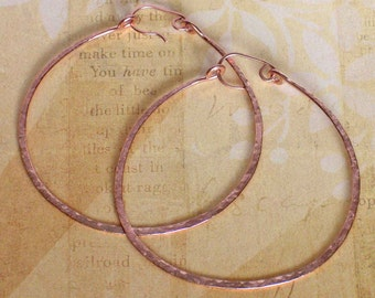 Large Round Rose Gold Hoop Earrings, 14K Rose Gold Filled Thick Wire Hammered Hoops, Made to Order
