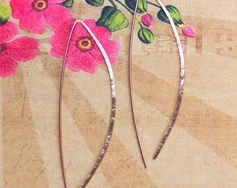 Rose Gold Bow Hoop Earrings, 3 Inch Earrings, Wishbone Hoops, Arc Hoop Earrings, Delicate Hoop Earrings, Threader Hoops, Modern Jewelry