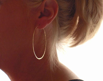 Delicate Gold Filled Hoop Earrings, 14K Yellow Gold Hammered Wire Hoops, Modern Earrings, High Fashion Earrings, Made in the USA, Blue Wave