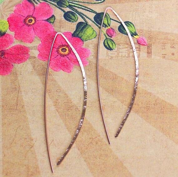 Rose Gold Open Bow Hoop Earrings, 3 Inch Earrings, Wishbone Hoops, Arc Hoop Earrings, Delicate Hoop Earrings, Threader Hoops, Modern Jewelry