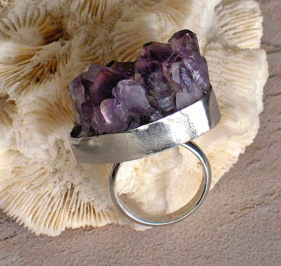 Large Purple Rough Amethyst Gemstone Ring, Big Purple Crystals, Rough Uncut Raw Amethyst Sterling Silver Ring