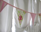 Shabby Chic Fabric Bunting Garland in Shades of Pink, White and Green