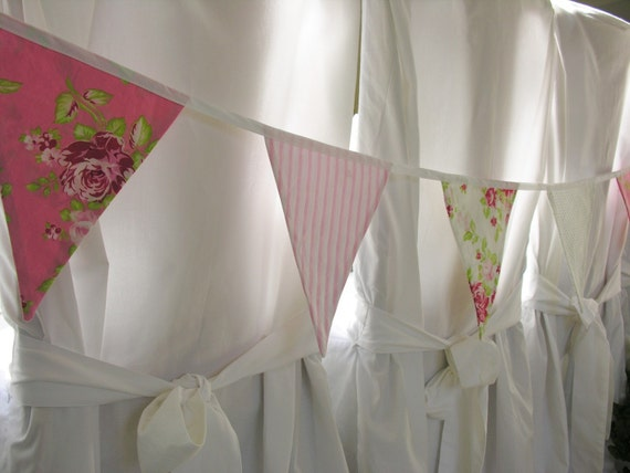 Shabby Chic Fabric Bunting Garland in Shades of Pink, White, and Green Tanya Whelan