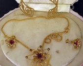 Vintage 1940s Parure Necklace Earrings Cuff Set  by Bugbee and Niles