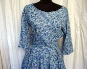 Vintage 1960's Blue Floral Full Skirt Party Dress Size 6
