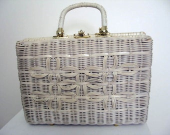 Vintage 1960's Designer White Wicker Handbag by Roger Van S