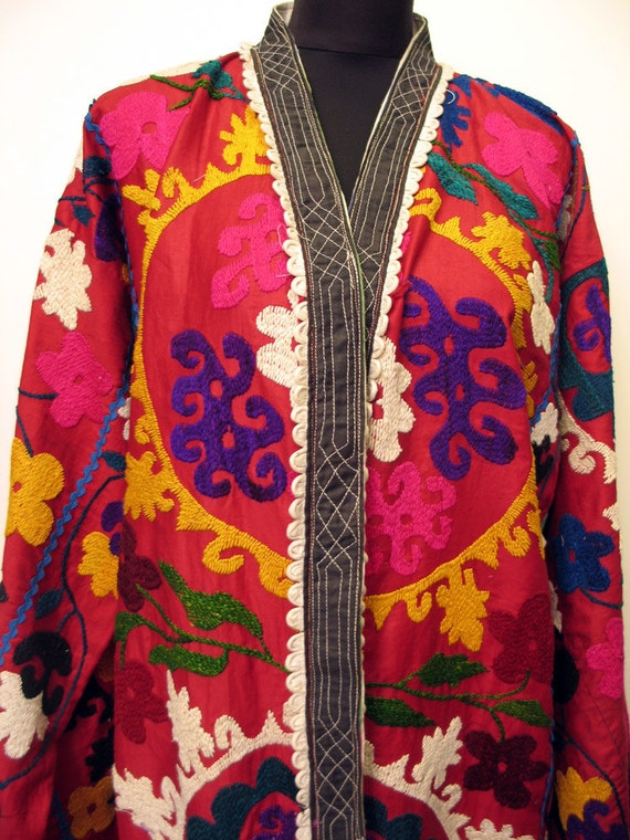 Gorgeous Vintage Uzbek Hand Embroidered Long Kaftan Coat
