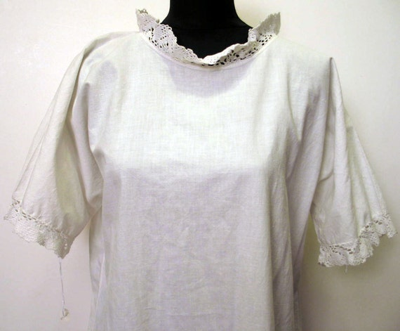 Vintage Victorian 1890's Cotton Nightgown with Crocheted Lace