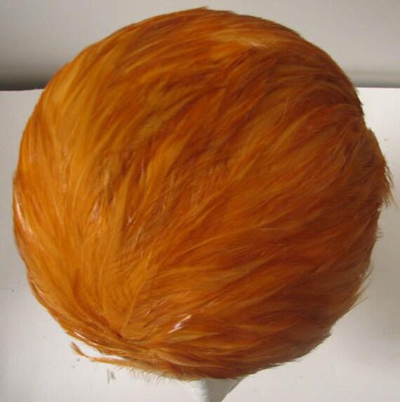 Vintage 50s Orange Fabulous Feather Hat