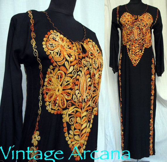 Vintage 1960's Luscious Embroidered Kaftan From Morocco