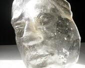 Cast Glass Art Prism Face Sculpture Rainbow Maker Optical Head, Let It Shine