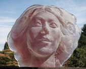 Cast Glass Art Face Sculpture, Portrait of a Spiritual Woman in Magenta