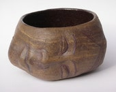 Chawan Face Sculpture Tea Bowl Art Head Cup, Marbled with Local Clay