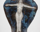 Figure nue Art céramique murale Relief Sculpture déesse à bras ouverts, le coeur large