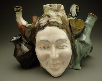 Pot Head Face Sculpture Vases and Containers, Ceramic Art Assemblage SALE