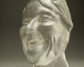 Laughing Friend Glass Cast Art Face Sculpture