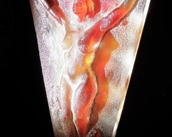 Cast Glass Nude Figure Sculpture, The Open Heart, Phoenix Arising