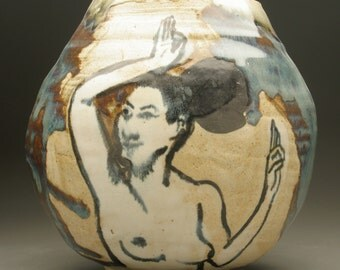 Vase Head Sculpture Bliss Face Pot With A Dancer Original Figure Painting After Ajanta Cave Art