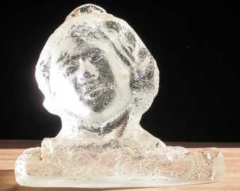 Cast Glass Prism Head of A Woman Crystal Face Sculpture Suncatcher