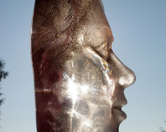 Cast Glass Face Sculpture, Ruby Red Head of a Woman, Crystal Art Lens Cheeks