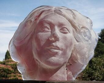 Cast Glass Art Face Sculpture, Portrait of a Spiritual Woman in Magenta