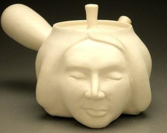 Face Teapot, Matte White Insight Sculpture Head Pot Side Handle Kyusu
