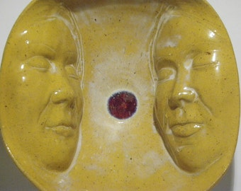 Lovers Bowl, Ceramic Face Art Serving Sculpture Couple Sharing Tea Bowl
