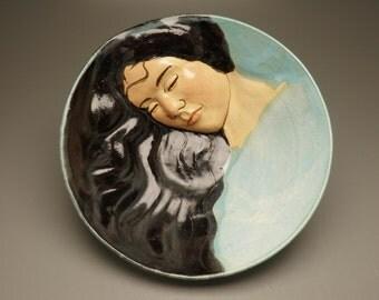 Goddess Art Serving Bowl Wall Piece Platter Bas Relief Figure Sculpture head of a Woman Centerpiece with Turquiose Blue Sky