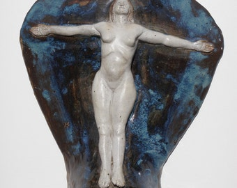 Nude Figure Art Ceramic Wall Relief Sculpture Goddess with Open Arms, The Expansive Heart