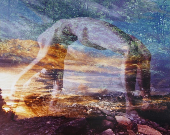 Yoga Art, Backbend Transformation, Triple Exposure with Nude Figure Painting Color Film Photograph