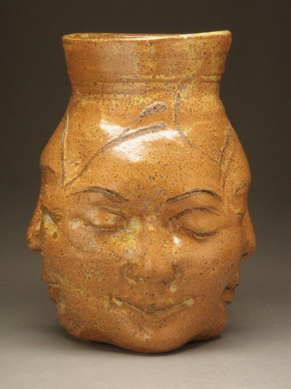 Face Vase Four Winds Buddha Sculpture Head Centerpiece Pot