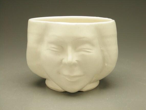 Tea Bowl, Bliss Face Sculpture Chawan Matte White
