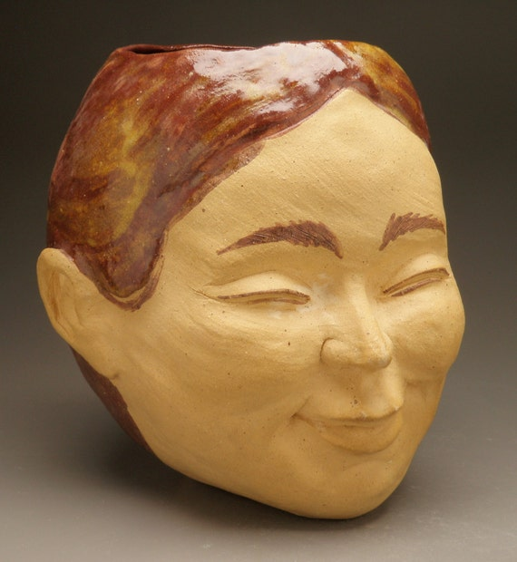 Smiling Face Vase Pot Open Mind Vessel Buddha Sculpture Art Planter Head Home Decor Sale