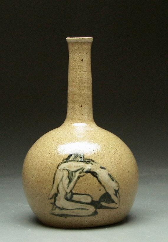 Erotic Art Bud Vase, Lovers Nude Figure Painting with Lioness, Mature Vessel