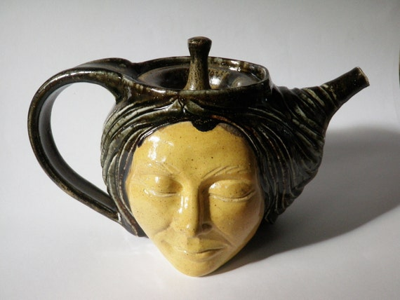 Face Tea Pot Sculpture Head, Hand Carved With A Buddha on the Bottom, Art Pottery