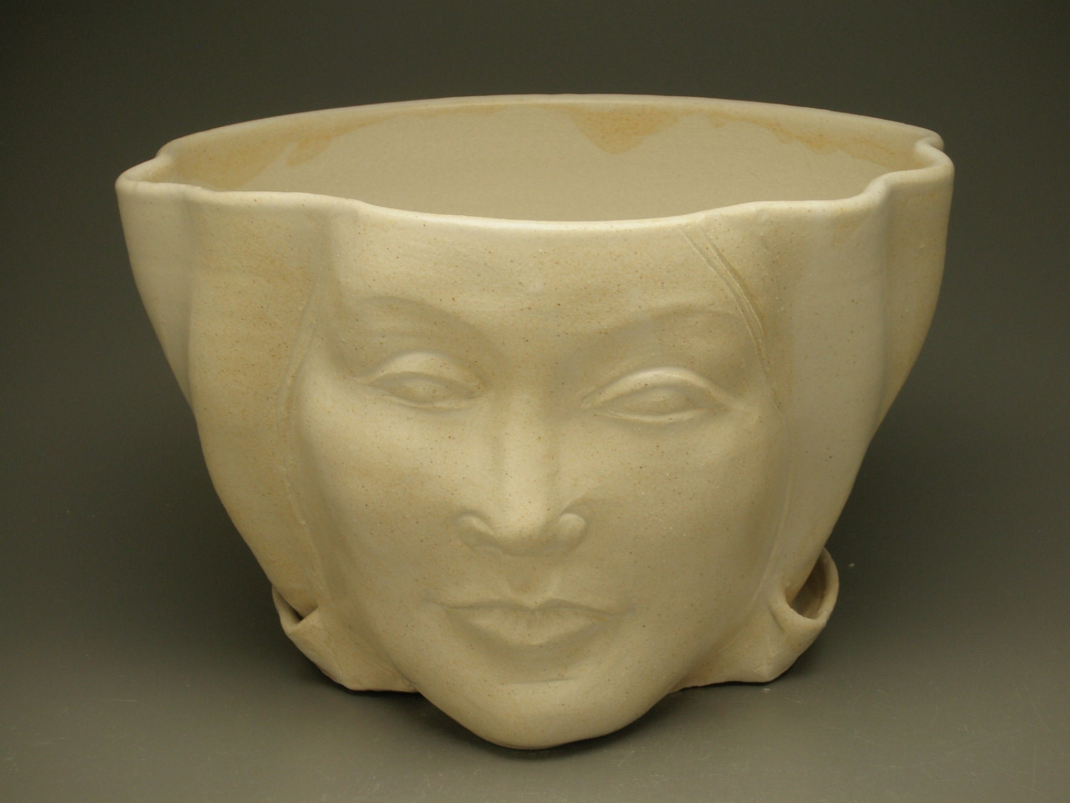 Face Planter Sculpture Flower Pot Head Garden Art With Open