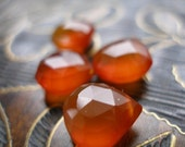 Large Orange Faceted Chalcedony Briolettes - matched pair 11-13mm