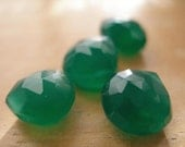 Large Faceted Forest Green Faceted Chalcedony Briolette- matched pair