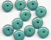 50 Genuine Czech Glass Green Turquoise Picasso 6mm Rondells Spacer Beads