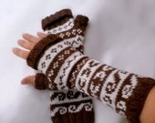 Chocolate-Brown and Milk  Two Color Fingerless Mittens Fair Isle handknit Merino Extrafine wool