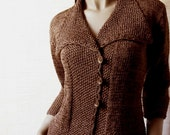 Knit sweater Chocolate Brown Jacket Cotton or Wool women Shawl collar cardigan