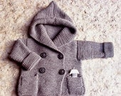 Knit hooded baby coat Baby coat Knit Jacket Merino hoodie Hand Knit hoodie Pea coat 0 - 6 month