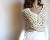 Hand Knit Vest Cable Knit Womens Sweater Knit Cowl, Many colors available