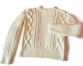 Handknit Aran Cabled sweater jumper pullover in off white UNISEX Merino Extrafine Choose your color size S-L