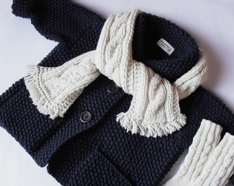 Kids Hand Knit Merino Wool Sweater Scarf Socks Set Toddler Jacket Navy Blue Cardigan Coat Many colors available