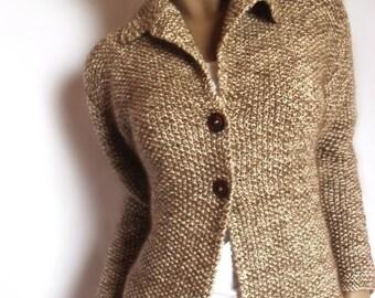 Womens Hand knit Jacket Merino wool sweater Mohair cardigan