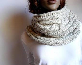 Hand Knit Cowl Cable Knit Womens Vest Wool Knit Scarve Many colors available Two ways to use Cowl Sweater