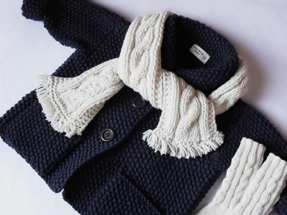 Kids Hand Knit Merino Wool Sweater Scarf Socks Set Toddler Jacket Navy Blue Cardigan Coat Many colors available