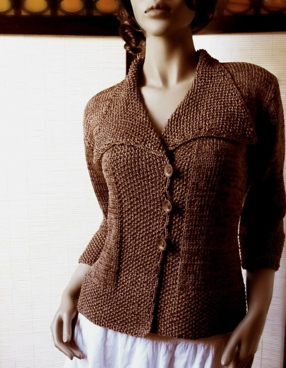 Chocolate Ladies Cardigan - Sweater Scarf