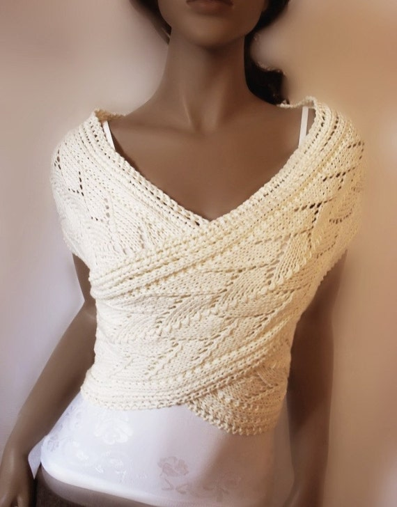 Organic cotton Womens hand knitted sweater Vest Lace Knit  Off White  Wrap Sweater, Many colors available